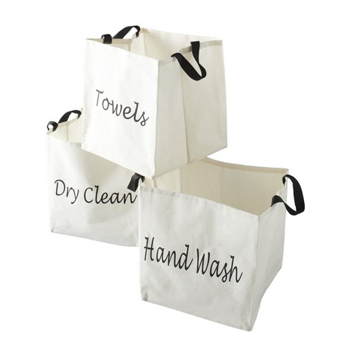 Lakeside Canvas Storage Laundry Bags with Fabric Handles - Set of 3 - image 1 of 4