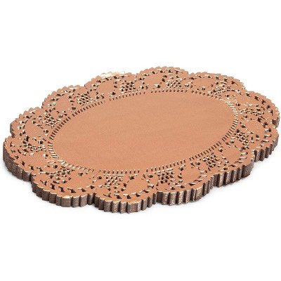 """Juvale Lace Paper Doilies, 100-Piece Rose Gold Round Decorative Placemats Cake, Desert, Party Tableware, 8"""""""