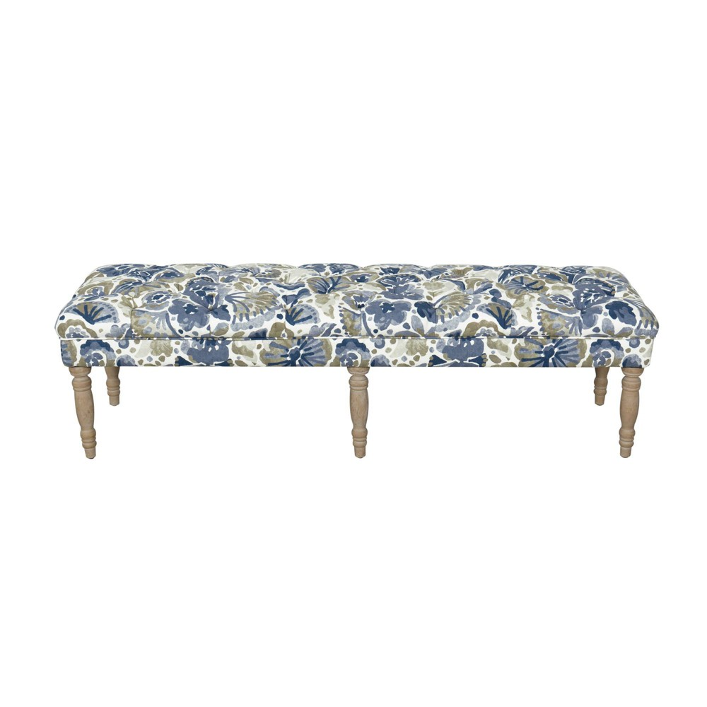 Layla Bench Floral Blue/Tan - HomePop was $239.99 now $179.99 (25.0% off)
