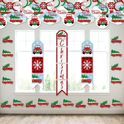 Big Dot of Happiness Merry Little Christmas Tree - Wall and Door Hanging Decor - Red Truck and Car Christmas Party Room Decoration Kit