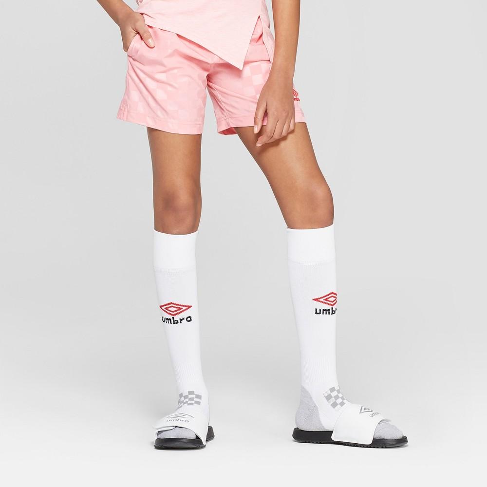 Umbro Girls' Checkerboard Soccer Shorts - Geranium Pink M