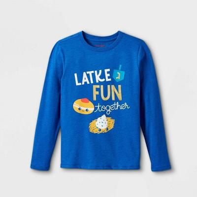 Boys' 'Latke Fun Together' Graphic Long Sleeve T-Shirt - Cat & Jack™ Cobalt Blue