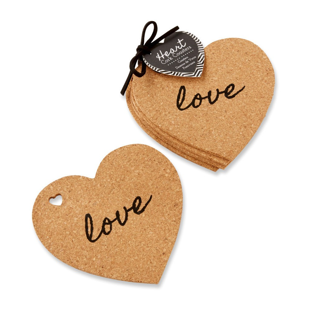 Image of 12ct Heart Cork Coasters, Brown