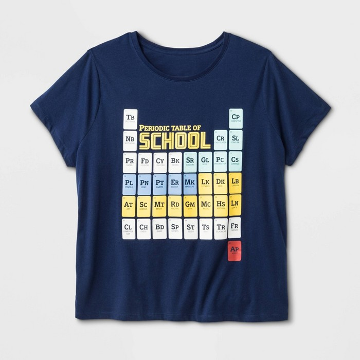 Women's Plus Size Periodic Table Graphic T-Shirt - Navy - image 1 of 1