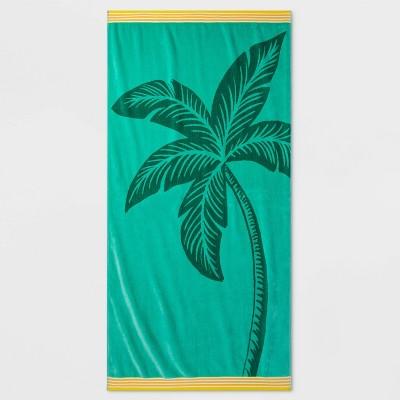 XL Big Palm Tree Beach Towel Green - Sun Squad™