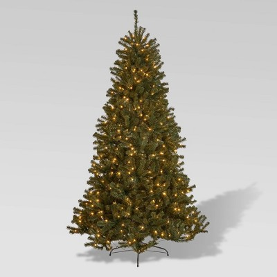 7.5ft Noble Fir Pre-Lit Hinged Full Artificial Christmas Tree Clear Lights - Christopher Knight Home