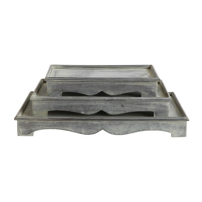 Galvanized Metal Pedestal Tray Set of 3 - Pewter - 3R Studios