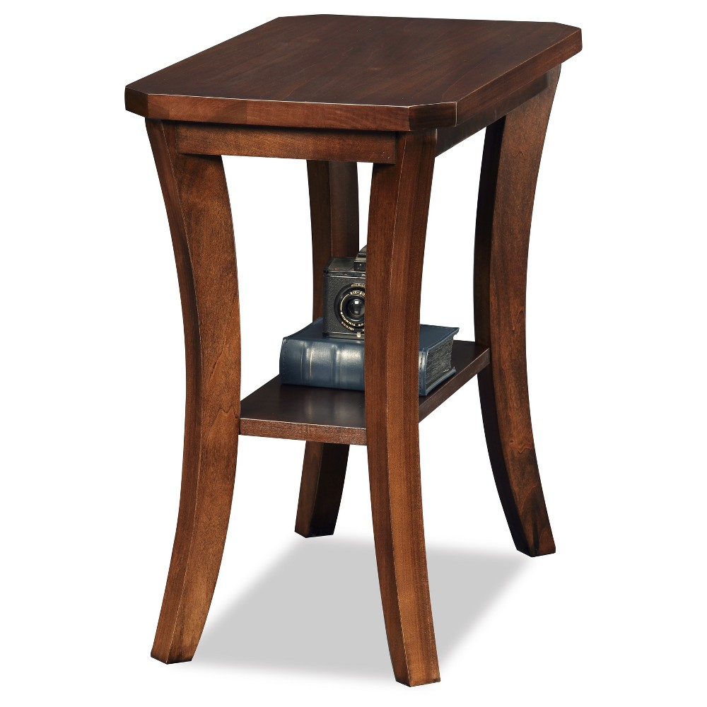 Image of Boa Narrow Chairside Table - Chocolate Cherry - Leick Home, Brown