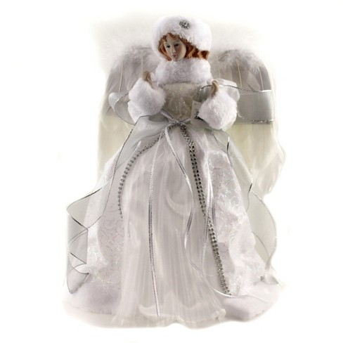 """Tree Topper Finial 14.0"""" Snow White Angel Feather Wings Christmas  -  Tree Toppers - image 1 of 3"""