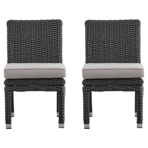 Riviera Pointe 2-Piece Wicker Patio Dining Side Chair - Charcoal - Inspire Q - image 1 of 3