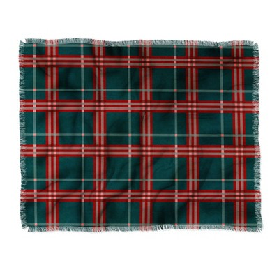 "50""x60"" Emanuela Carratoni Tartan Theme Woven Throw Blanket Red/Green - Deny Designs"