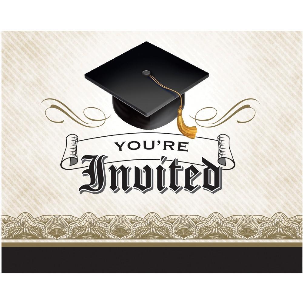 8ct Graduation Cap & Gown Invitations