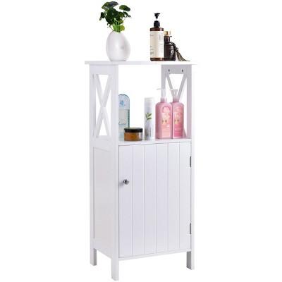 Costway Floor Cabinet Bathroom Organizer Floor Towels Storage Cabinet Single Door