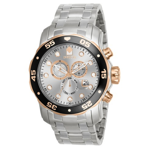 Men's Invicta Pro Diver 80037 Stainless Steel Quartz Chronograph Link Bracelet Watch - Silver - image 1 of 1