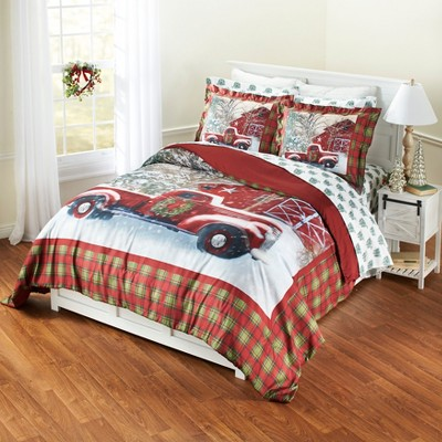 Lakeside Home for the Holidays Red and Green Plaid Holiday Truck Comforter