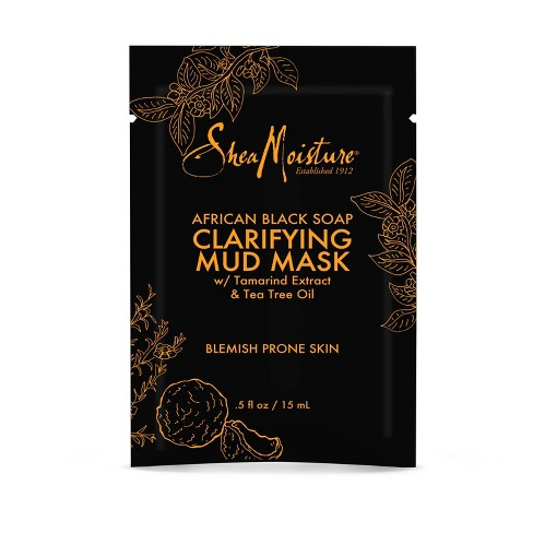 SheaMoisture African Black Soap Clarifying Mud Face Mask - Tamarind Extract & Tea Tree Oil - .5oz - image 1 of 5