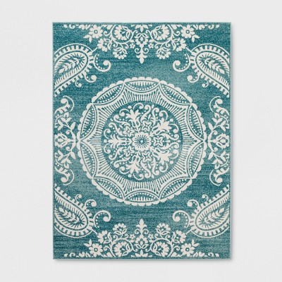 5' X 7' Vintage Medallion Outdoor Rug Turquoise - Opalhouse™