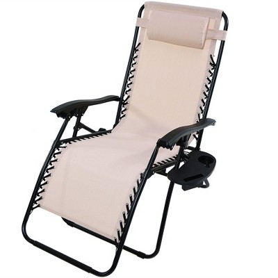 Attirant Oversized Zero Gravity Lounge Chair With Pillow And Cup Holder   Single    Beige   Sunnydaze Decor