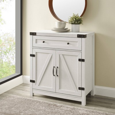 Clarabelle Rustic Farmhouse Barn Door Accent Cabinet Brushed White - Saracina Home