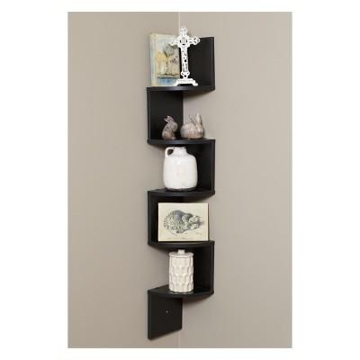 Large Corner Wall Mount Shelf Black Laminate - OneSpace