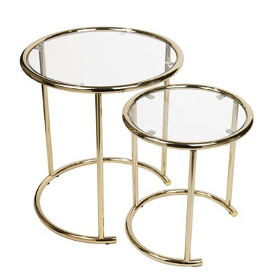 Set of 2 Nested Round End Tables Clear Glass and Gold - Danya B.