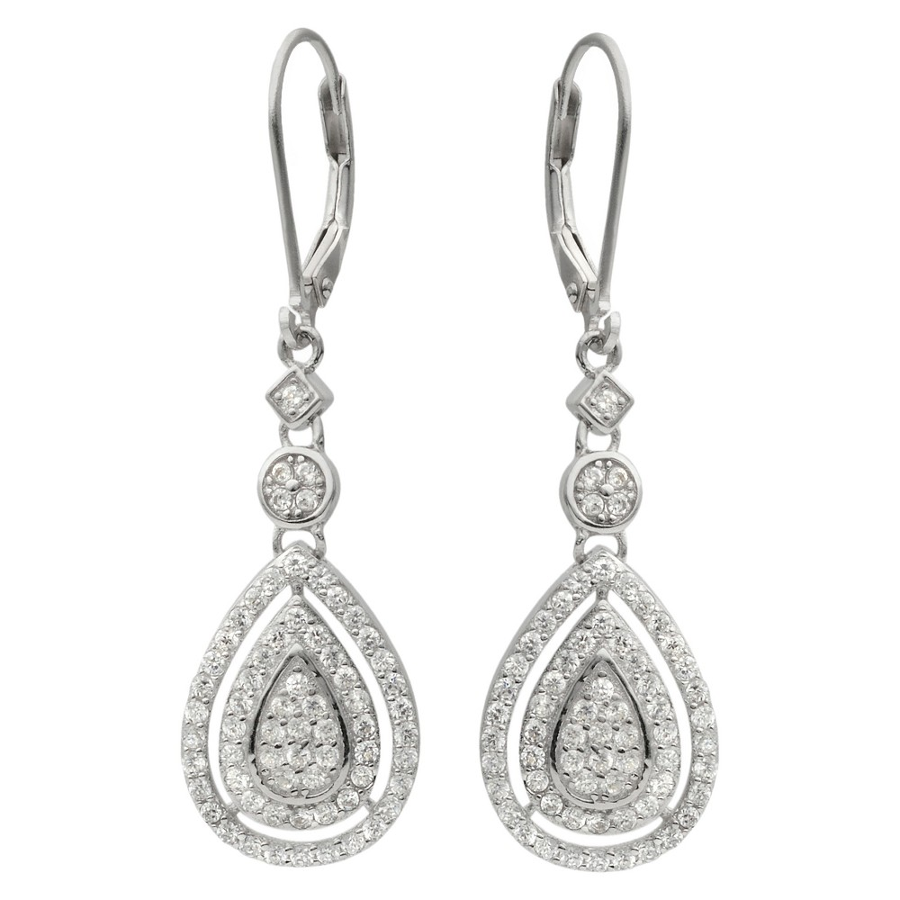 1 1/3 CT. T.W. Round-cut Cubic Zirconia Tear Drop Dangle Pave Set Earrings in Sterling Silver - Silver, Girl's