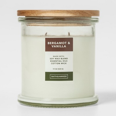 19oz Lidded Glass Jar Candle Bergamot & Vanilla - Smith & Hawken™