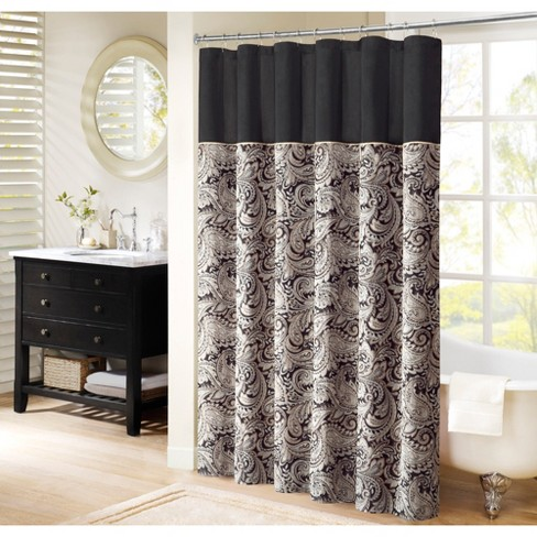 Wellington Paisley Jacquard Polyester Shower Curtain