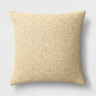 Oversized Woven Tile Square Throw Pillow Yellow - Threshold™