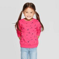 Toddler Girls' Star Print Crew Fleece Sweatshirt - Cat & Jack™ Pink
