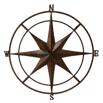31 H Metal Compass Wall Plaque - Gold - Backyard Expressions