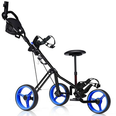 Foldable 3 Wheel Push Pull Golf Club Cart Trolley w/Seat Scoreboard Bag Red/Blue
