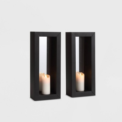 16.7  x 7  2pc Mirror Pillar Candle Metal Wall Sconces Black - Danya B.