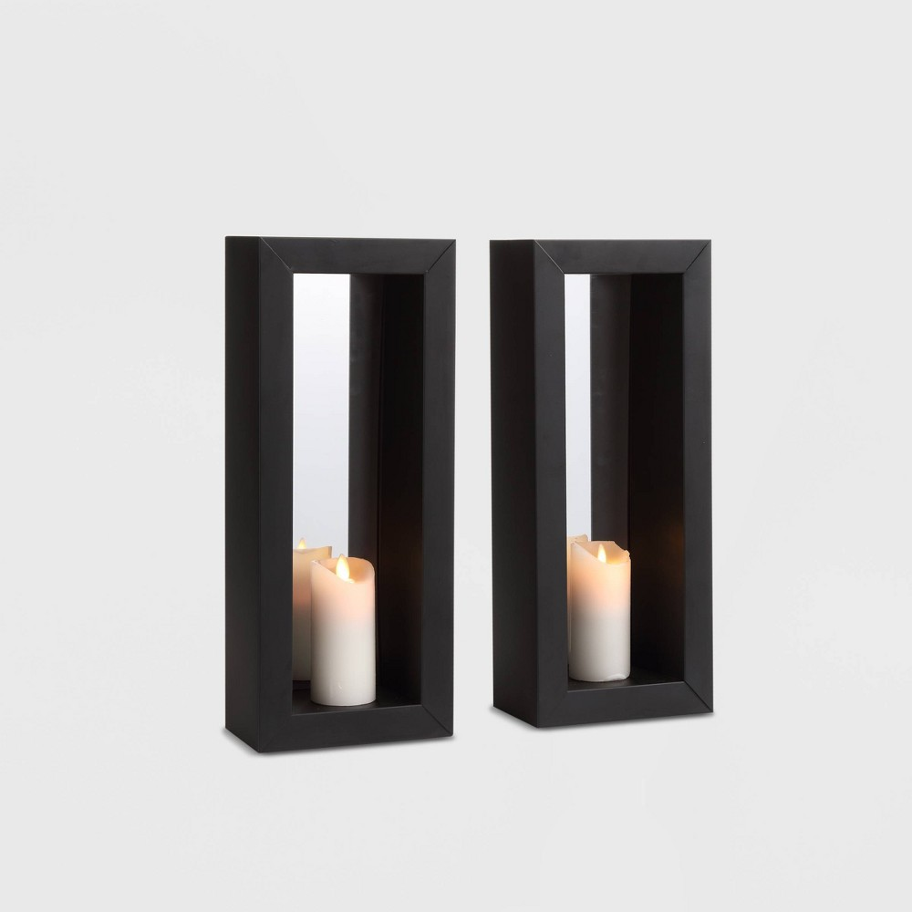 "Image of ""16.7"""" x 7"""" 2pc Mirror Pillar Candle Metal Wall Sconces Black - Danya B."""
