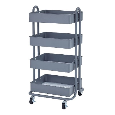 ECR4Kids 4 Tier Metal Rolling Storage Organizer Utility Cart with 4 Rolling Caster Wheels for Office, Kitchen, and Bathroom, Gray