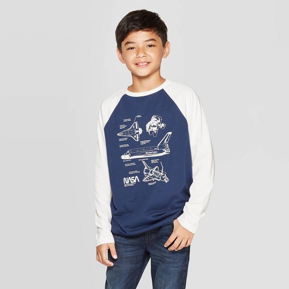 Image of Boys' NASA Long Sleeve T-Shirt - Blue L, Boy's, Size: Large