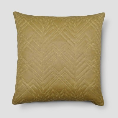 Brown Quilted Faux Leather Throw Pillow - Threshold™