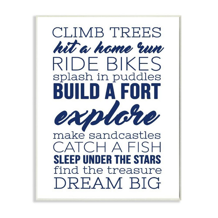"10""x0.5""x15"" Climb Trees Dream Big Navy with White Wall Plaque Art - Stupell Industries - image 1 of 3"