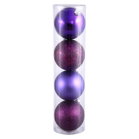 4ct Plum Assorted Finishes Ball Shatterproof Christmas Ornament Set - image 1 of 1
