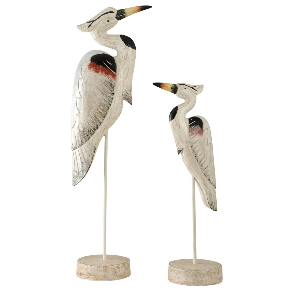 Image of Decorative Accent Bird Set of 2 - White / Brown