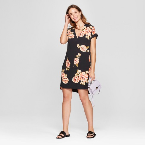 Women's Floral Print Short Sleeve Crepe Dress - A New Day™ Black - image 1 of 3