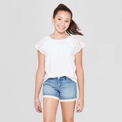 4e0894f77e0d Girls  Short Sleeve Eyelet Sleeve T-Shirt - Cat   Jack™ White