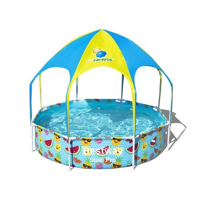 Bestway 8ft x 20in Splash in Shade Kids Spray Play Swimming Pool with UV Shade Canopy, Fruit Print