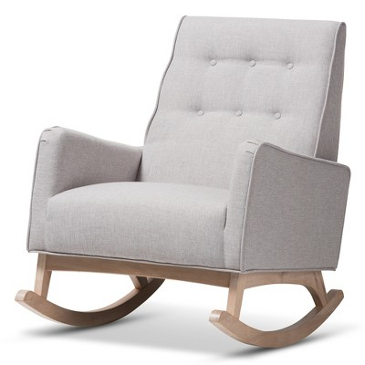 Marlena Mid - Century Modern Fabric Upholstered Whitewash Wood Rocking Chair - Baxton Studio
