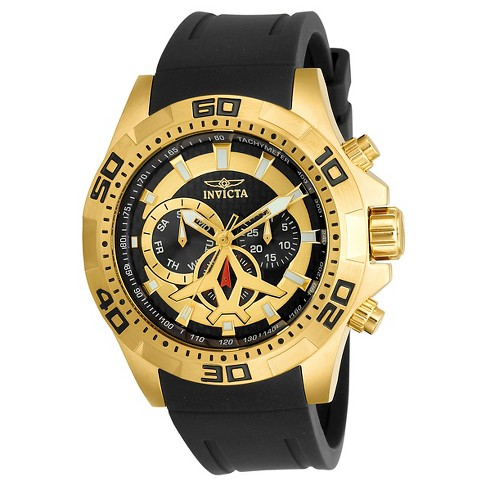 Men's Invicta 21738 Aviator Quartz Multifunction Black and Gold Dial Strap Watch - Black - image 1 of 1