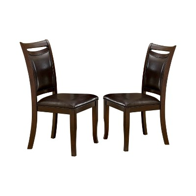 Set of 2 BurtonLeatherette Padded Curved Back Side Chair Dark Cherry/Espresso - miBasics