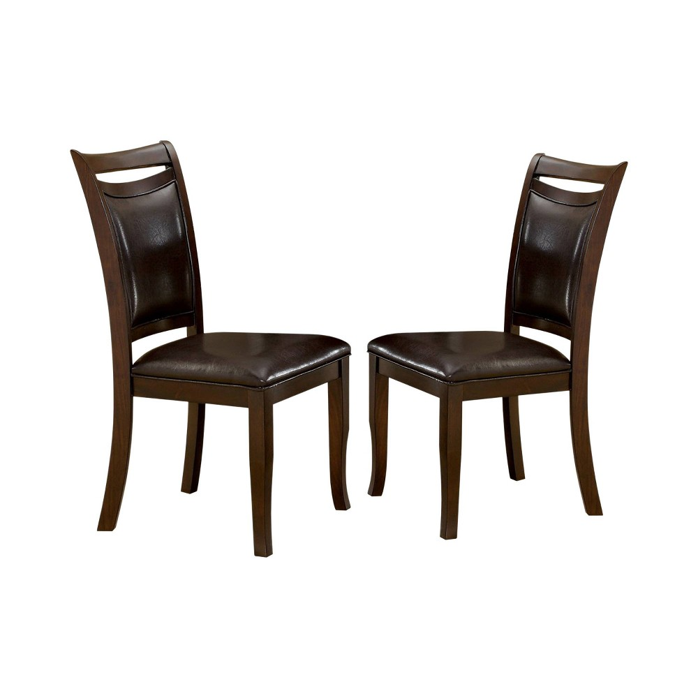 Set of 2 Burton Leatherette Padded Curved Back Side Chair Dark Cherry/Espresso - miBasics