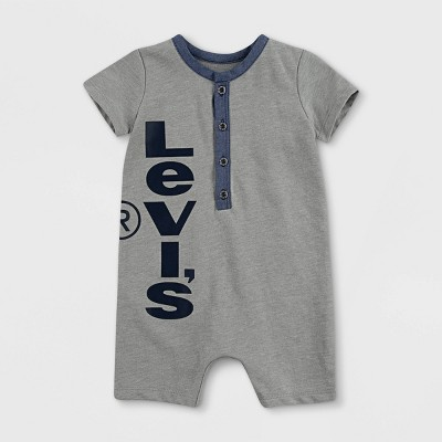 Levi's® Baby Boys' Chambray Henley Coveralls - Gray Heather 6M