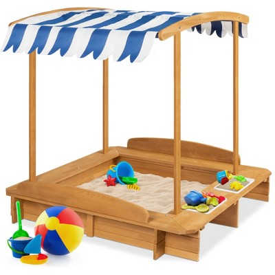 Best Choice Products Kids Wooden Cabana Sandbox w/ Bench Seats, UV-Resistant Canopy, Sandpit Cover, 2 Buckets - Natural