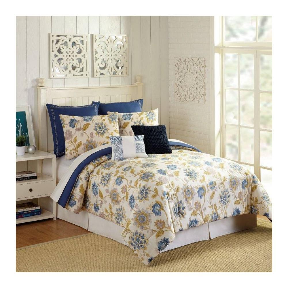 Image of Presidio Square Queen 7pc Monterey Comforter & Sham Set Ivory/Navy, Beige Blue